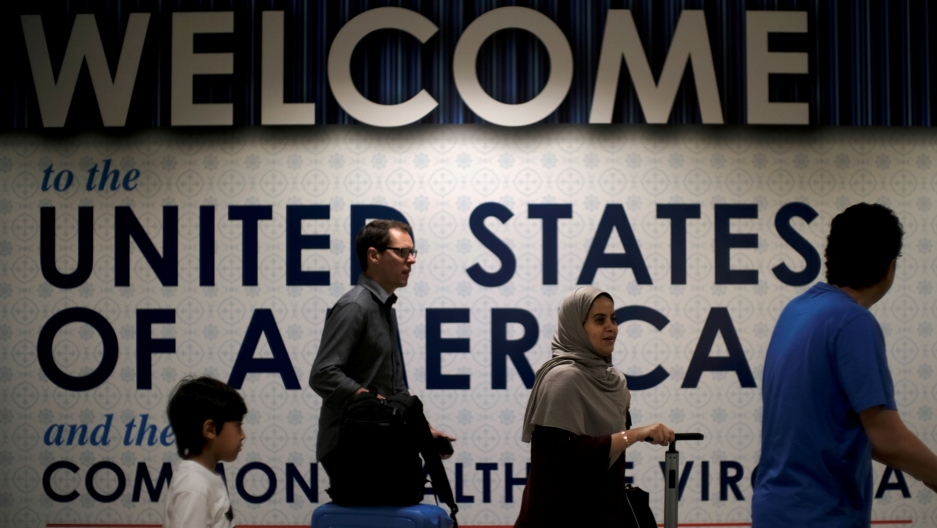 International passengers arrive at Washington Dulles International Airport.