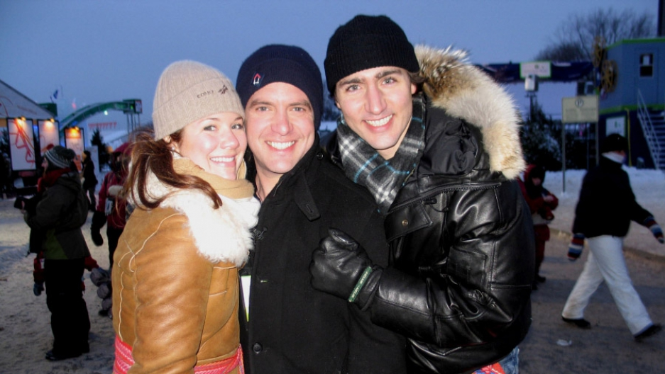 Canadian satirist Rick Mercer flanked by Justin Trudeau (back when he was just 'Justin') and his wife Sophie Gregoire-Trudeau on location for the Rick Mercer Report at the Quebec City Winter Carnival in 2010.