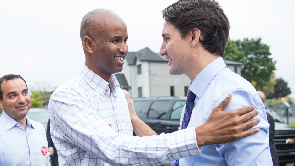 Justin Trudeau on the campaign trail, visiting then-candidate Ahmed Hussen in his Toronto district. Ahmed Hussen won the race, becoming Canada's first member of parliament of Somali descent.