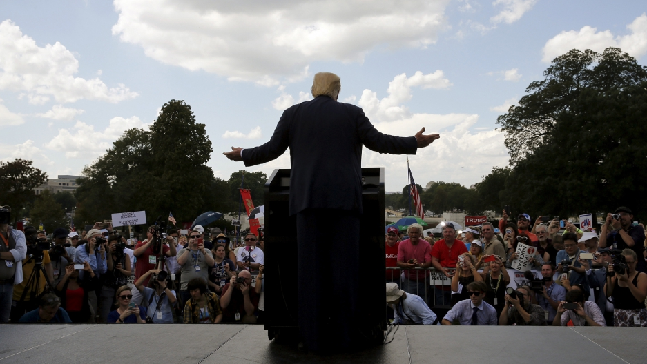 Then Republican presidential candidate Donald Trump addressing a Tea Party rally against the Iran nuclear deal in Washington, 2015.