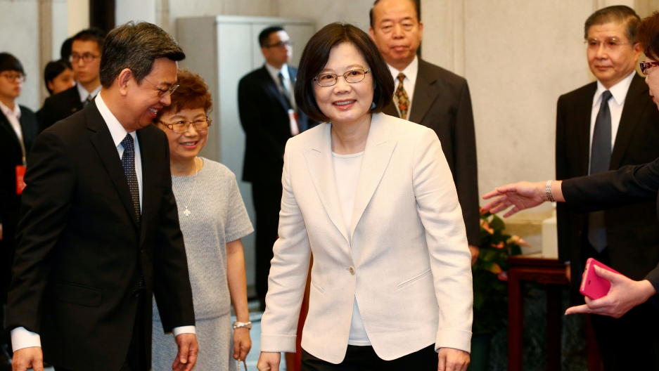 Tsai Ing-wen arrives at the Presidential Office to swear in as Taiwan's President in Taipei, Taiwan on May 20, 2016.