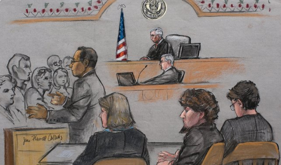 Aloke Chakravarty, a prosecutor, addressed jurors during closing arguments in the Boston Marathon bombings trial of Dzhokhar Tsarnaev, second from right, at the federal courthouse in Boston on Monday.