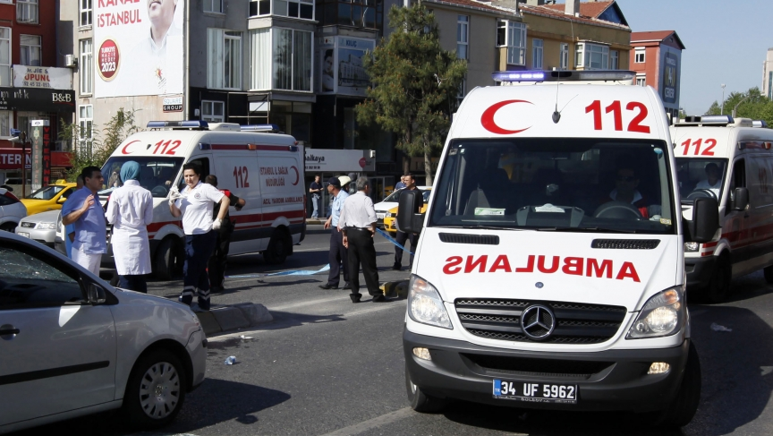 Ambulances arrive following an explosion in Istanbul.