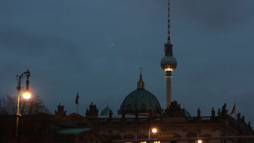 The Fernsehturm television tower, featuring Berlin's largest and most well-known disco ball.