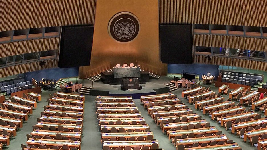 The United Nations General Assembly hall in New York, April 2016.