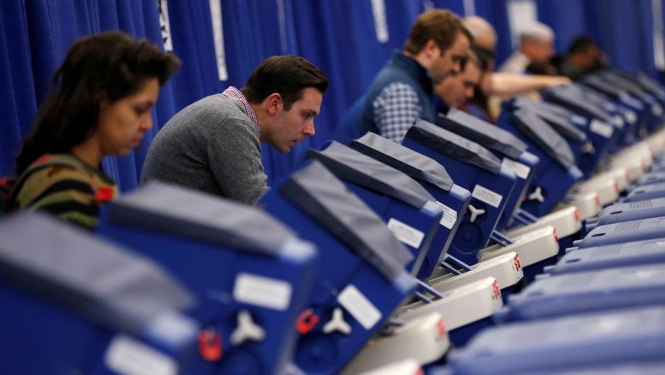Voters casting ballots
