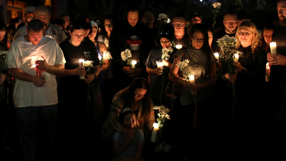 A candlelight vigil is held in remembrance of victims following the mass shooting along the Las Vegas Strip, October 3, 2017.