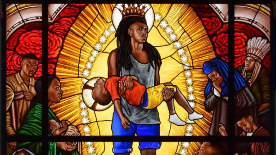 "Detail from ""Mary Comforter of the Afflicted,"" stained glass portrait by Kehinde Wiley"