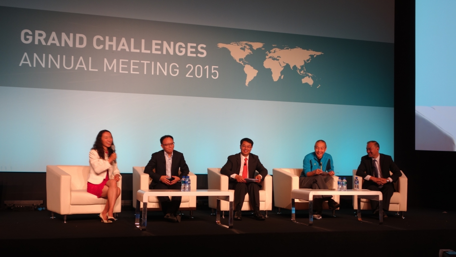 BGI founder Wang Jian, in athletic jacket, joins other panelists at Grand Challenges talk in Beijing