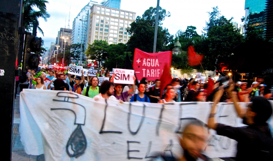 Protesters march through São Paulo recently demanding equitable distribution of water throughout São Paulo state. Unofficial rationing has brought frequent water outages to neighborhoods throughout the Brazilian megalopolis of 20 million people.