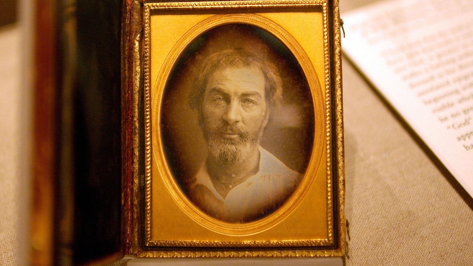 A daguerreotype of Walt Whitman is displayed at the New York Public Library