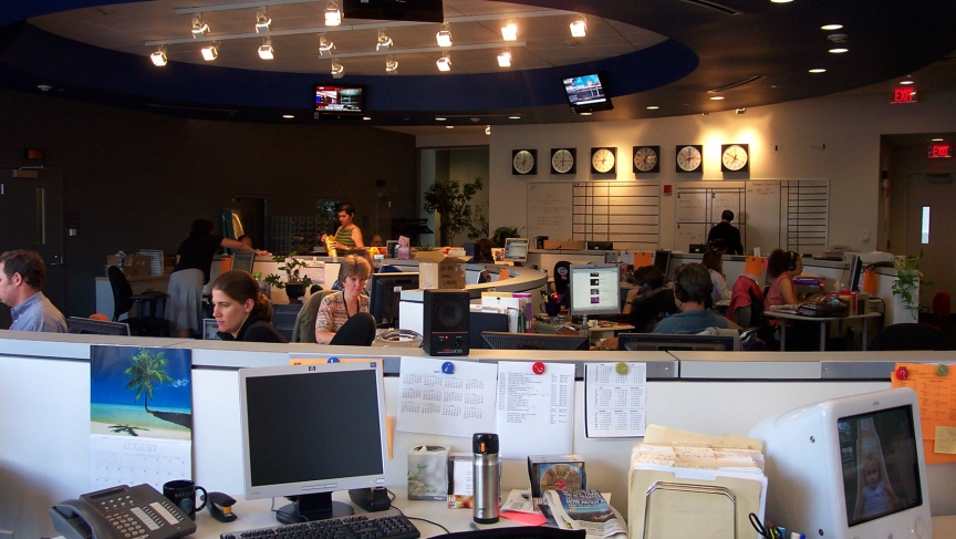 Wilkins photo of The World newsroom