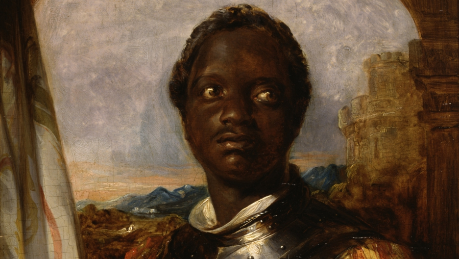 Ira Aldridge, as Othello, in battle armor, by William Mulready