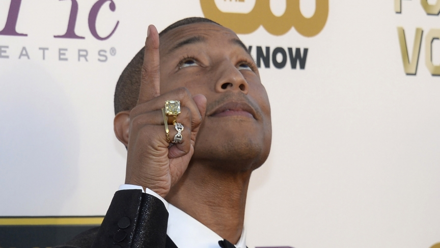 Musician Pharrell Williams at the 19th annual Critics' Choice Movie Awards, January 2014.