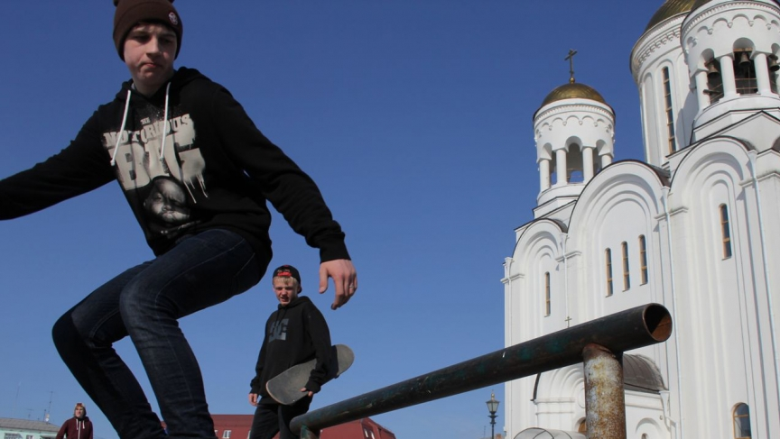 """Russian skateboarders in Serov's central square. """"I've got nothing against America,"""" one of them says. """"They've got some great skaters in the US."""""""