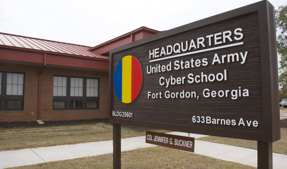 The sign outside the headquarters of the US Army's new Cyber School at Fort Gordon, Georgia. The school is part of the Army's creation of a new cyberwarfare branch.