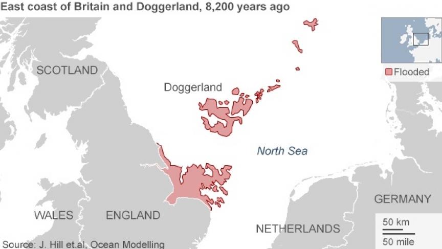 Eastern England and Doggerland, 8200 years ago.