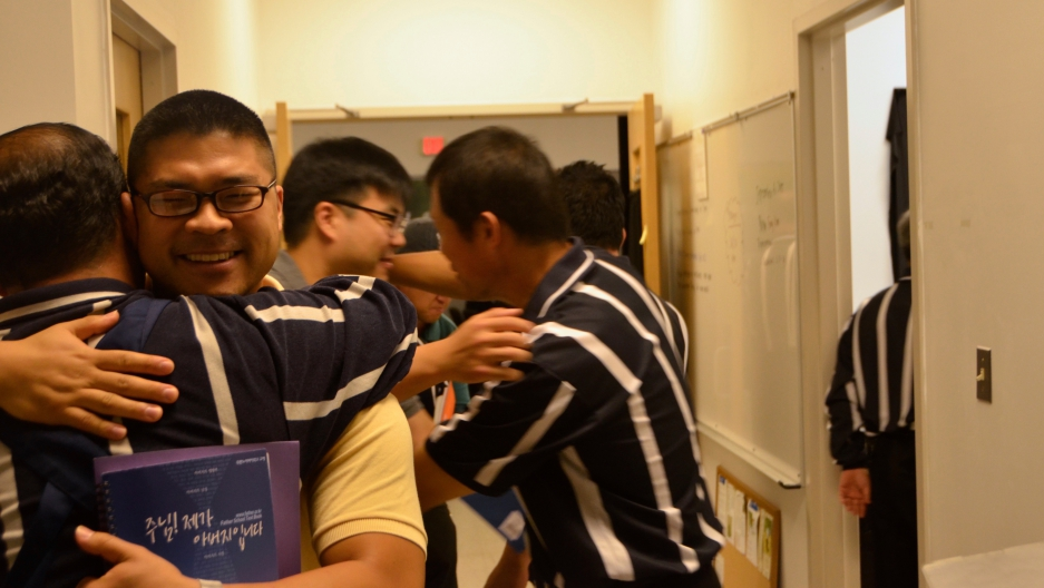 The Durano Father School teaches stoic Korean dads how to be more involved and loving parents.  The program includes a literal lesson on how to hug.