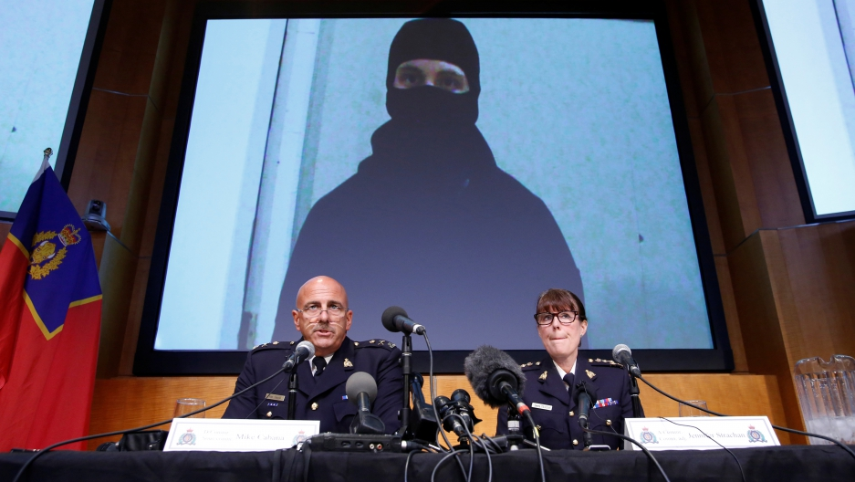 An image of Aaron Driver and RCMP officials