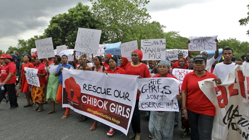 Members of various civil society organizations (CSOs) protest against the delay in securing the release of the abducted schoolgirls who were kidnapped. Dozens of protesters gathered outside Nigeria's parliament in Abuja on Wednesday called on security for