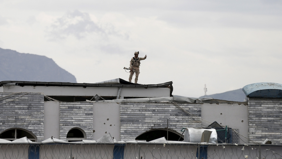 An Afghan security force member