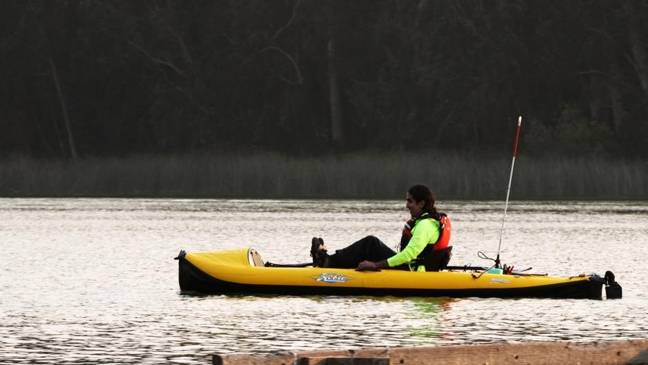 Ahmet Ustunel paddles his kayak solo