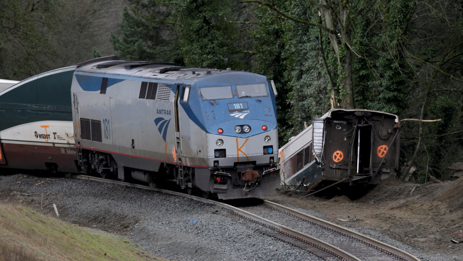 The scene where an Amtrak passenger train derailed on a bridge over interstate highway I-5 in DuPont, Washington, U.S., December 18, 2017.