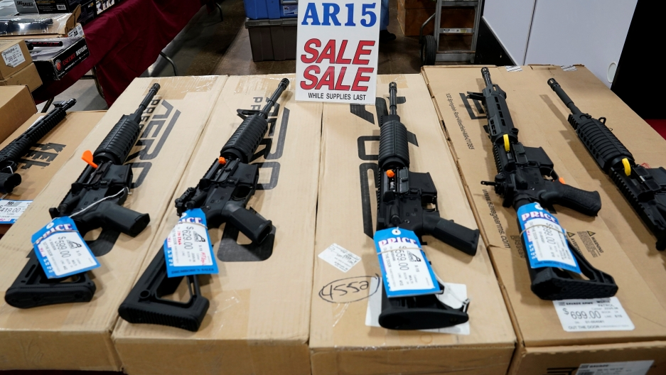 AR-15 rifles are displayed for sale at the Guntoberfest gun show in Oaks, Pennsylvania, October 6, 2017.