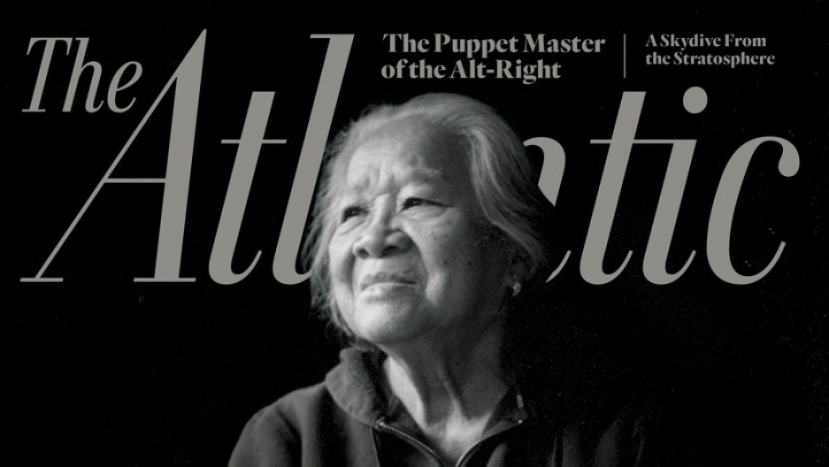Magazine cover with photo of woman in black and white