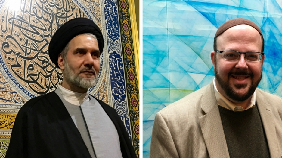 Grand Ayatollah Reza Hosseini Nassab (L) of the Imam Mahdi Islamic Center in Toronto has teamed up with Rabbi Cory Weiss of Temple Har Zion (R) to help raise funds for Syrian refugees moving to Canada.