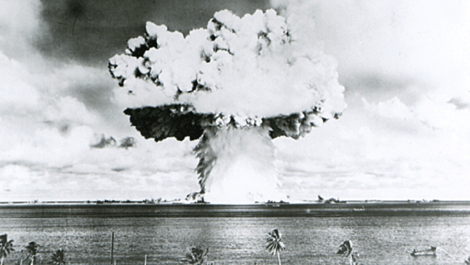 This image shows Baker, the second of the two atomic bomb tests