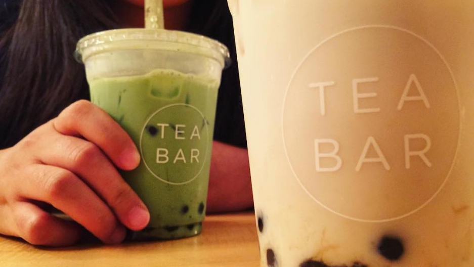 Two boba milk teas, close up
