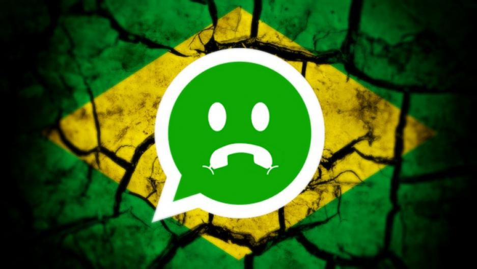 Image mash-up combining WhatsApp logo and Brazilian flag.