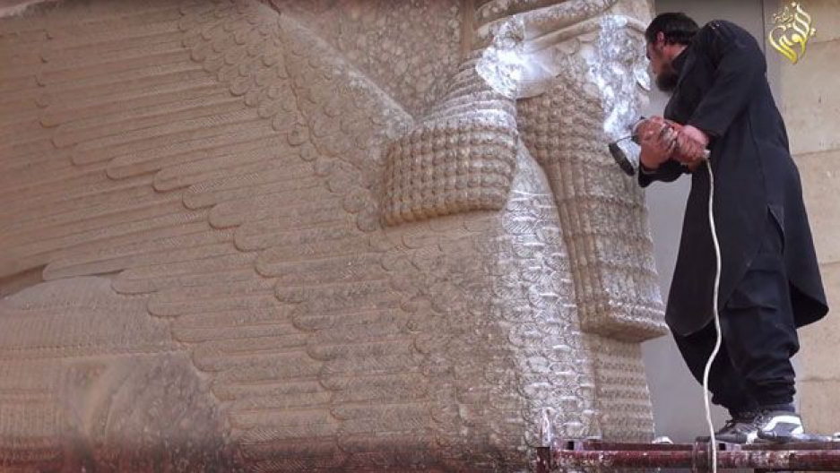 The so-called Islamic State defacing the defacing the Lamassu in Nineveh in 2015