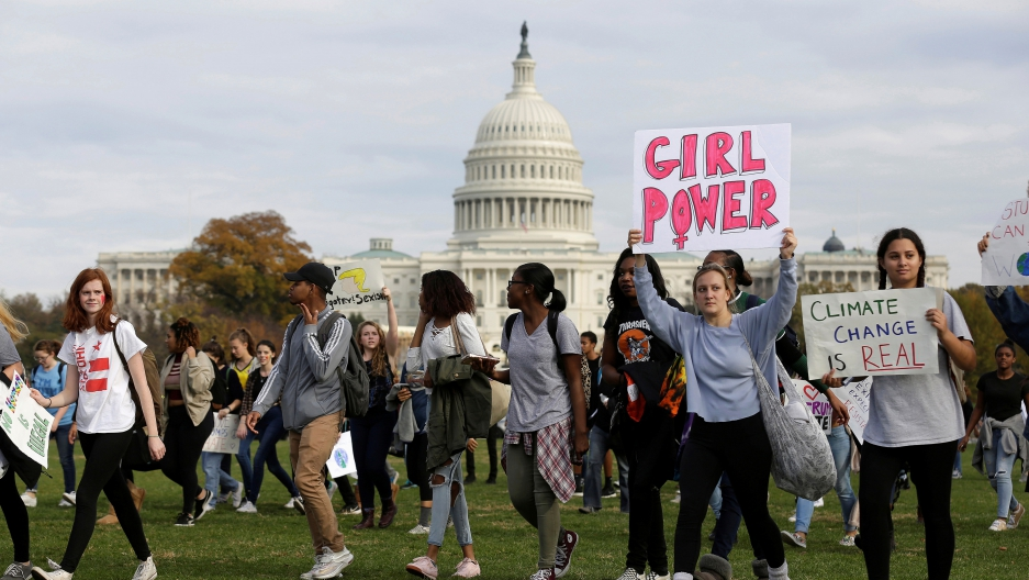 Young people gather in Washington to protest the election of Donald Trump.
