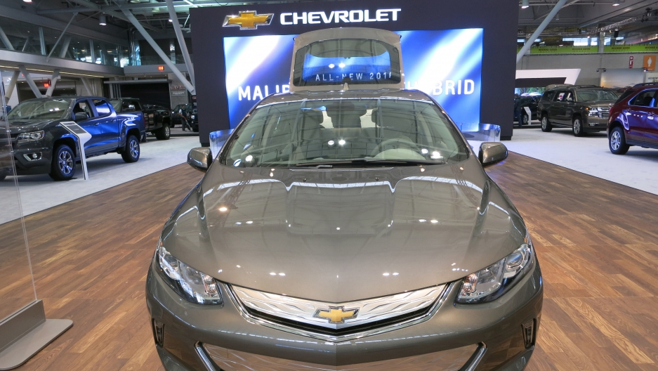Hybrid vehicles like the Chevrolet Volt were front and center at Boston's auto show.