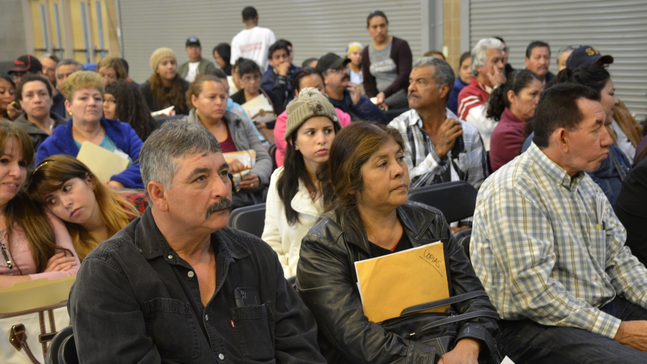 A citizenship drive in Las Vegas. Immigrants wait for help navigating the naturalization process. April 30, 2016