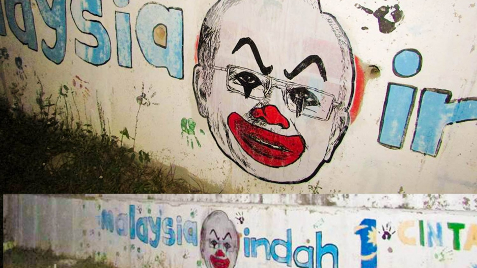 A Malaysian artists's caricatures of  the scandal plagued prime minister as a sinister clown have spurred a wider protest.