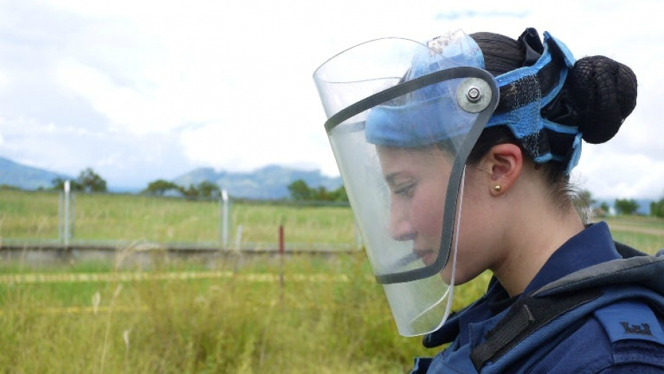 Alejandra Segura is one of eight women deminers in Colombia.