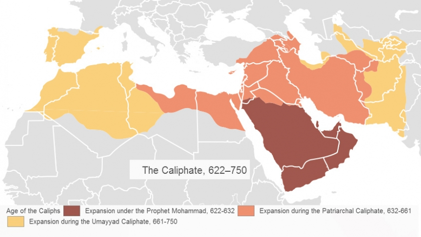A map showing the early Islamic Caliphate.