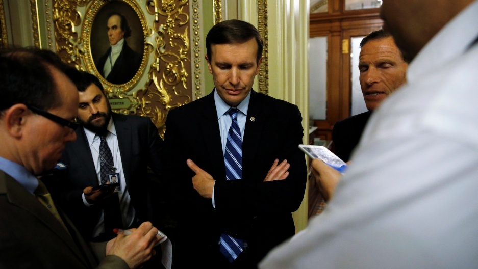 US Senator Chris Murphy, center, and Senator Richard Blumenthal, right