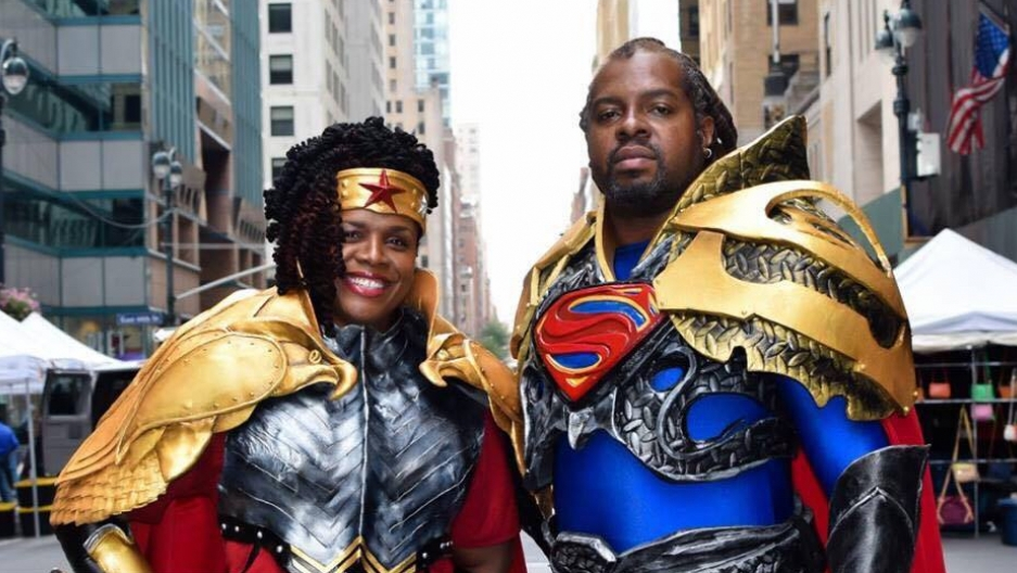 Harry and Gina Crosland cosplay as Superman and Wonder Woman.