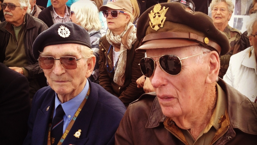 British veteran Leslie Dobinson (left) and American veteran James Kunkle in La Cambe share their memories of the 1944 Normandy landings and the days that followed.