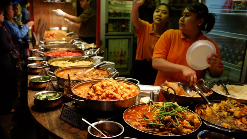Curry dishes at Camden Lock in London.