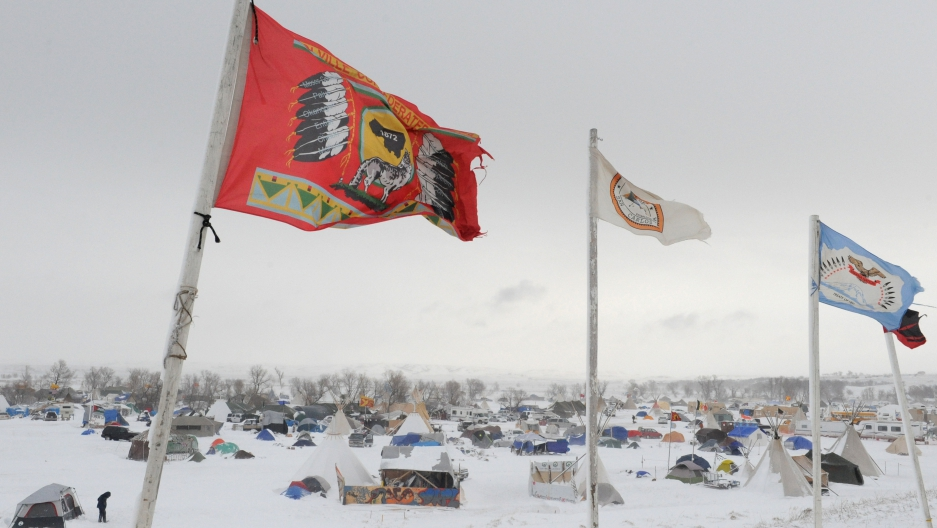 The Oceti Sakowin camp is seen in a snow storm