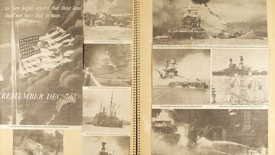 Newspaper clippings in scrapbook about the attack on Pearl Harbor