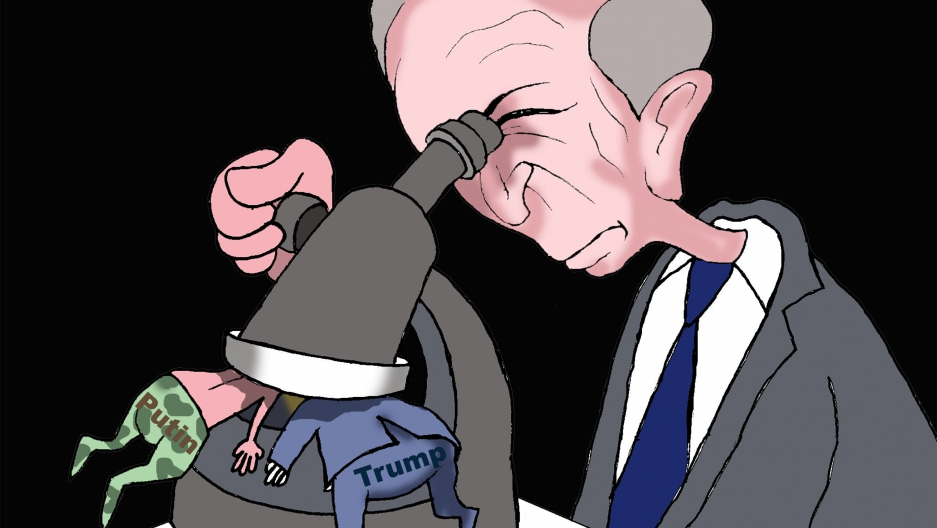 cartoon shows new special prosecutor James Mueller looking under microscope at Putin and Trump