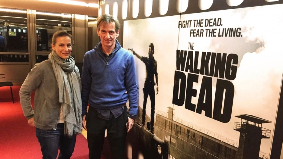 Nadine Heidenreich, left, and Viktor Neumann are German voice actors who dub the characters Rosita Espinosa and Rick Grimes on The Walking Dead. They're pictured here at EuroSync studios in Berlin.