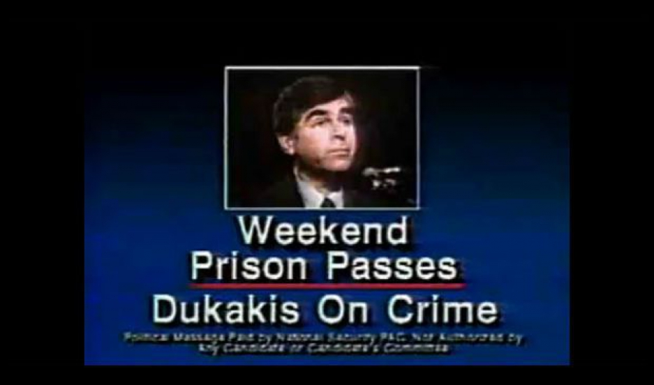 Screen grab from then-Presidential Candidate George H.W. Bush's election ad against Michael Dukakis.