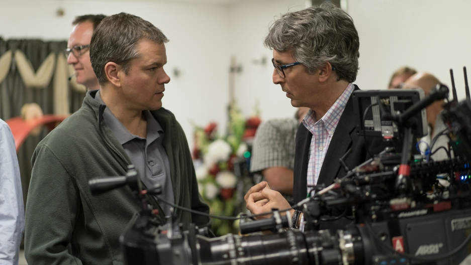 Matt Damon and Director Alexander Payne on the set of Downsizing